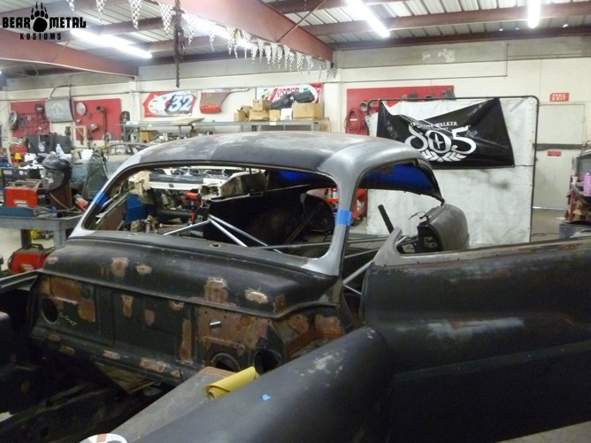 The car in the shop.